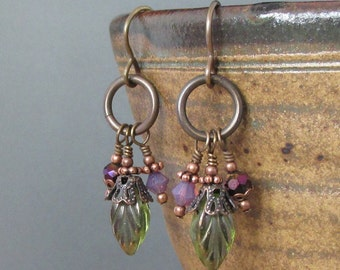 Crowned Leaves...earthy dangle earrings