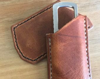 Kershaw Pub Knife slip Sheath - Horween English Tan Dublin - friction folder - pocket knife sheath