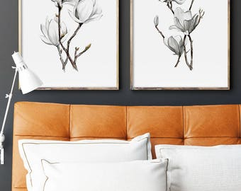 Magnolia Flower Prints, Set of 2 Prints, Watercolor Minimalist Spring Flowers, Floral, Botanical Art, Giclee of Original Painting, Abstract