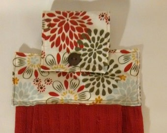 Hanging Dish Towel, vibrant red, green and lightblue.  Snap for easy hanging with decorative button.