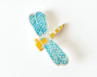 Dragonfly. Hand painted brooch.