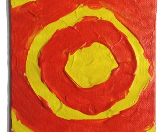 Solar Flare - Textured acrylic Painting by K. H. Denham. Yellow, Red and Sun.