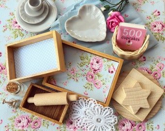 Lovely Miniature Craft Supplies-Baby Blue, Make your own Miniatures with this set of 23 pcs, Dollhouse Miniatures