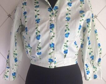 Pretty 1950's blue Rose print poplin blouse.