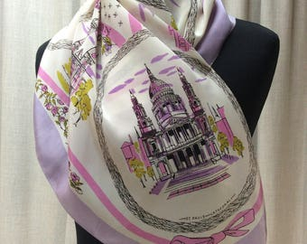 Lovely 1950s Vintage London Souvenir crepe de chine Headscarf in really pretty colours