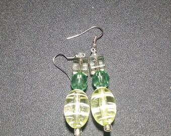 Mint Green Crystal Dangle Earrings