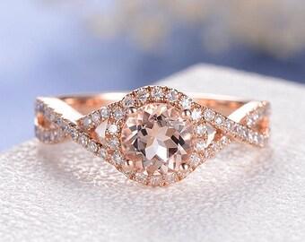 SALE US6.5 RESIZED Infinity Engagement Ring Rose Gold Round Cut Morganite Ring Halo Anniversary Bridal Wedding Split Shank Diamond Eternity