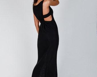 Black Maxi Dress Loose Long Dress Long Black Dress Sleeveless Black Dress Unique Dress Maxi dress