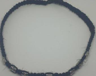 Black Jute necklace/choker with metal beads, weaved, braided, hemp