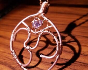 Amethyst Ohm Necklace (Handmade, Bare Coper)