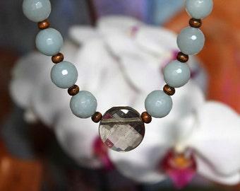 Necklace peace donors aquamarine smoky quartz