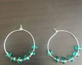 Green bead Hoop Earrings