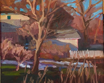 "Original oil Landscape painting, ""End of Winter"""