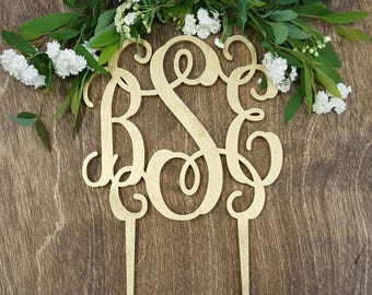 Gold painted monogram cake topper