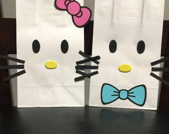 HELLO KITTY Birthday Party (Set of 12) Favors/ Bags/ Goodie/ Goody/ Loot/ Candy/ Treats/ Supplies/ Decorations/ Fiesta/ Gifts