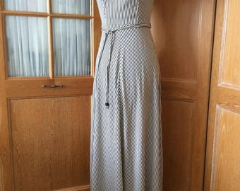 Ladies Vintage 30's Style Black /White Striped Full Length Dress. Cruise. Party. Size 10