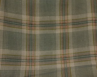 Vintage Plaid Linen Fabric