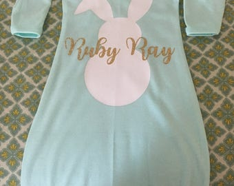 Easter Bunny Sleeper Gown, Easter Sleeper Gown, Bunny Sleeper Gown, Easter Bunny, Easter, Sleeper Gown, Baby Sleeper Gown