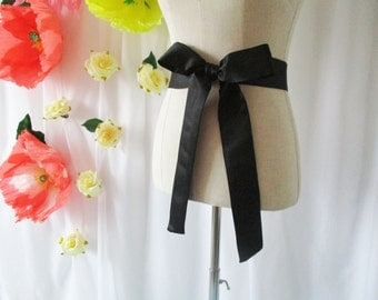 Black satin sash, bridesmaid sash, satin sash, black, black, long sash, wide sash, dress sashes, bridesmaid sashes, party sash, dress sash