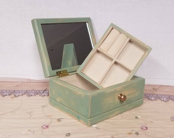 Upcycled Shabby Chic Light Green and Floral Decoupage Distressed Jewelry Box - Charming Country Cottage Heirloom Box