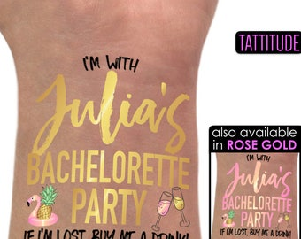 Bachelorette Party Custom Temporary Tattoos | bachelorette party tattoo, gold tattoo, bridesmaid gift, personalized, bachelorette, bach, hen