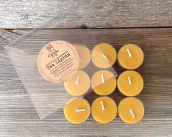 Pure Beeswax Tea Lights - 9 pack