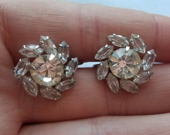 Sterling Silver Diamond Rhinestone Floral Screw Back Earrings