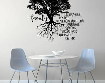 FAMILY TREE Vinyl Wall Decal Sticker Nature Quote Roots
