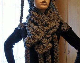 Rapunzel scarf and hat in set