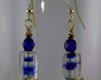 Murano glass beads, blue and clear, gold wire work