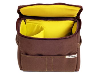 Stock-Taking SALE!! Padded Insert - DSLR Camera Case - Camera Bag Partition - Protection Case - Photo Bag Insert - JuCase Brown/Yellow