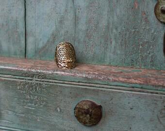 Brass Ring Shri Yantra / Bague en Laiton Shri Yantra