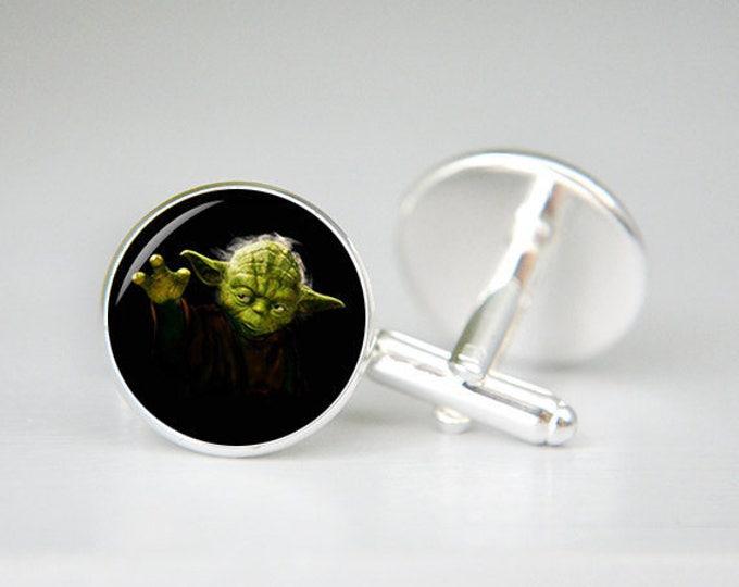 Yoda cufflinks, Star Wars Yoda cufflinks, Yoda jewelry, Star Wars Cufflinks, Men's, Personalized, Geek, Comic Cuff links, Groomsman, Wedding