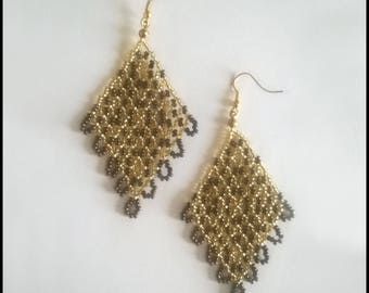 Bronze and gold earrings-Baroque