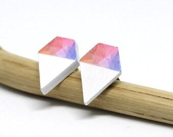 Wooden earrings Diamond Geometric Pastel 925 silver