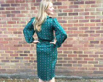 Vintage 1970's 1980's original Oscar De La Renta 100% Silk Dress