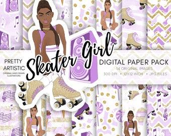 Skater Girl Digital Paper Pack, Roller Blades, Roller Skates, Purple Gold Paper Pack, Watercolor Illustration, Fashion Girl Clipart, Stereo