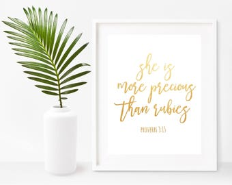 She Is More Precious Than Rubies, Proverbs 3:15, Nursery Print, Bible Verses, Scripture Printable, Christian Wall Art,  Instant Download
