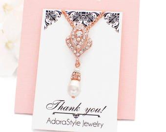 Rose gold rhinestone necklace, bridal crystal necklace, wedding accessories, wedding jewelry, bridesmaid jewelry, pearl necklace bridesmaid