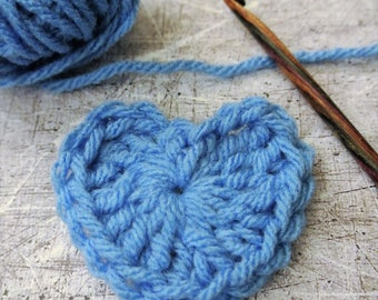 Crochet Hearts Blue Size Small 2 Inch Set of 6