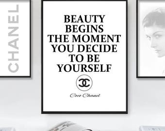 Coco Chanel Print, Coco Chanel Quote, Coco Chanel Printable Poster, Chanel Decor, Coco Chanel Wall Art, Chanel Beauty Quote,Instant Download