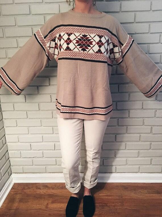 70s Vintage Bell Sleeve Sweater Fair Isle Argyle