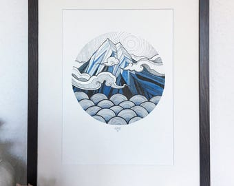 Original drawing - blue mountains