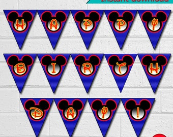 Mickey Birthday Paty Banner, Printable Disney Banner, Mickey Birthday Paty Triangle Banner, instant download