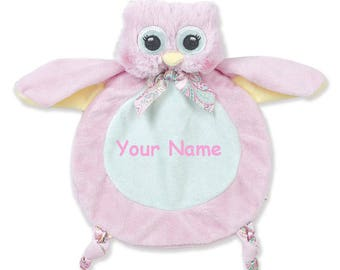 Personalized Bearington Baby Collection Little Hoots Owl Snuggler Security Blanky Blanket - 9 Inches