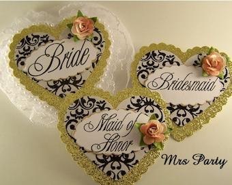 Set of 5 Bride and Bridal Party Badges Bridesmaid and Maid of Honor Pins Wedding Party Pins Black and Gold Bridal Shower Pins