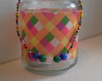 Multi coloured candle jar lantern