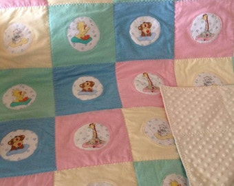 Suzy's Zoo color block hand stitched blanket Gender Neutral Pastels