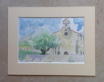 Saint Quenin at Vaison Chapel of St. Quenin Chapel original watercolor, original watercolor painting