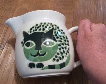 Midcentury Arabia Green Cat Pitcher made in Finland